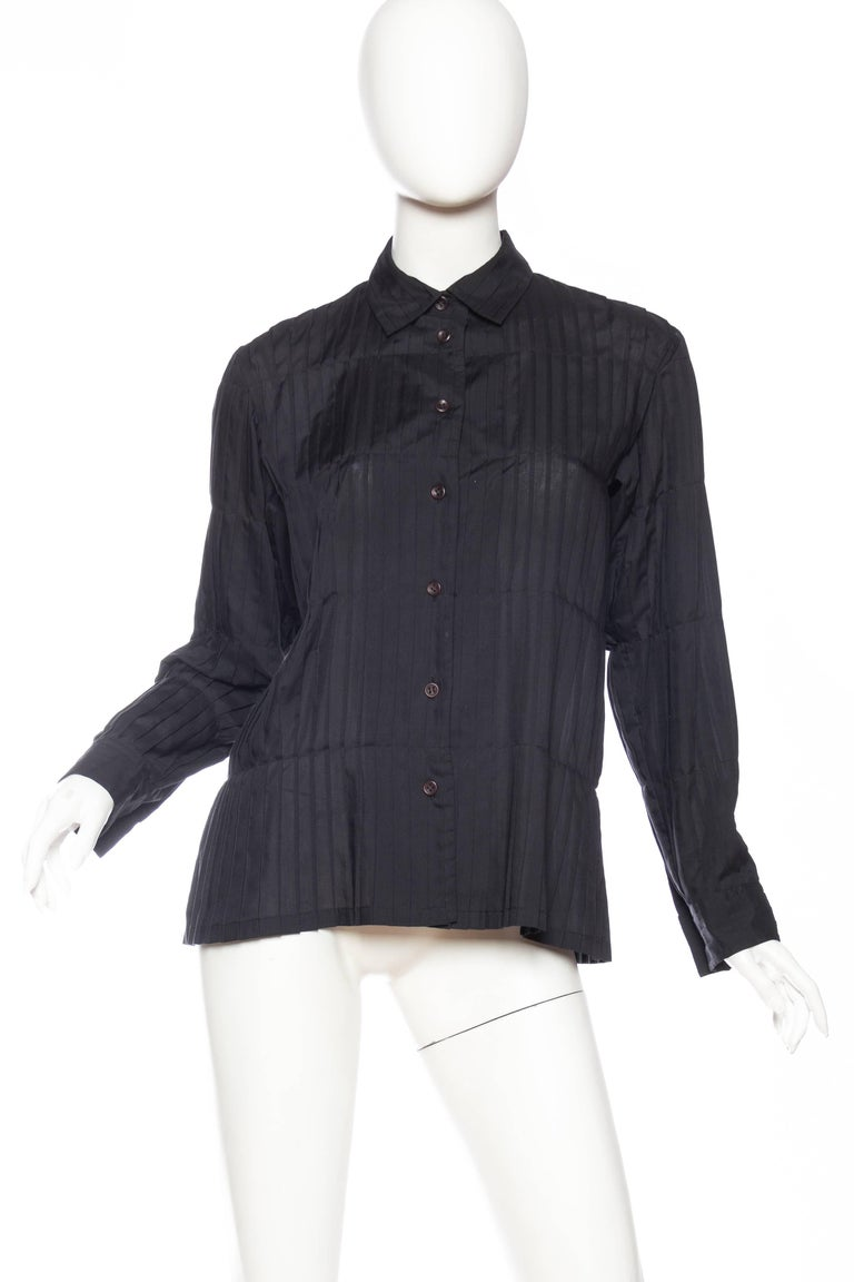 Black Issey Miyake Pleated Blouse For Sale