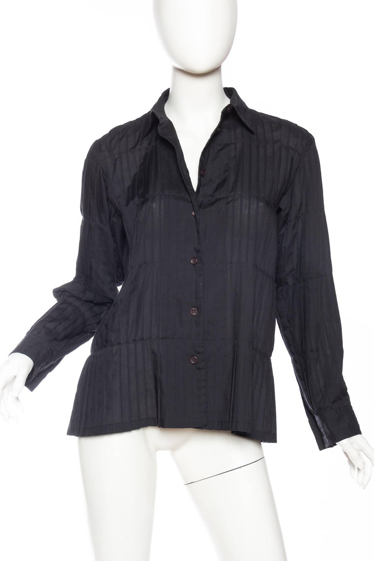 Issey Miyake Pleated Blouse In Excellent Condition For Sale In New York, NY