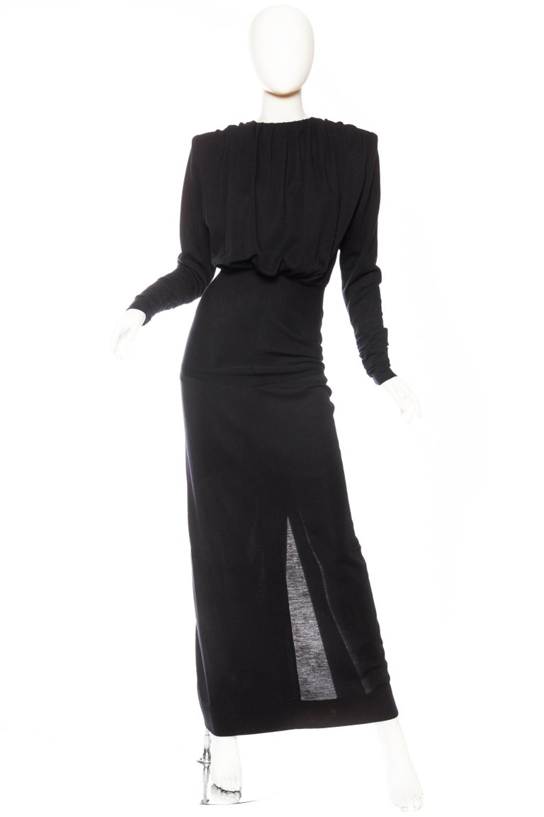 No designer before nor after matches the quality and construction of James Galanos. This gown is no exception, exquisitely finished inside and out by hand. And fun surprise, because of the jersey this dress can even be worn front to back!