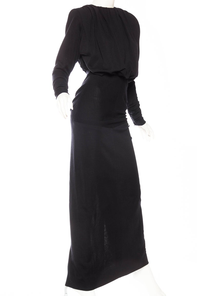 Black Galanos Structured Wool Jersey Gown For Sale
