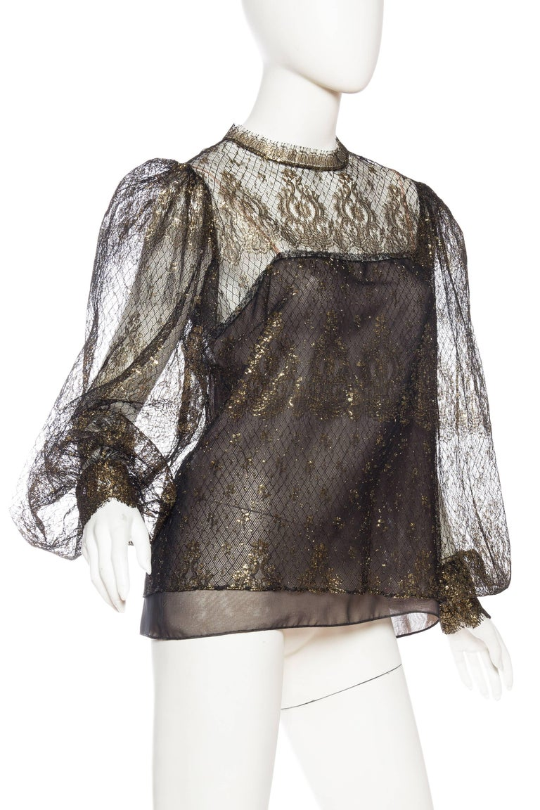 Oscar De La Renta Sheer Metallic Gold Lace Blouse At 1stdibs