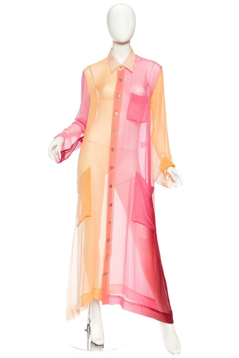 Issey Miyake Ombr Chiffon Shirt Dress For Sale At 1stdibs