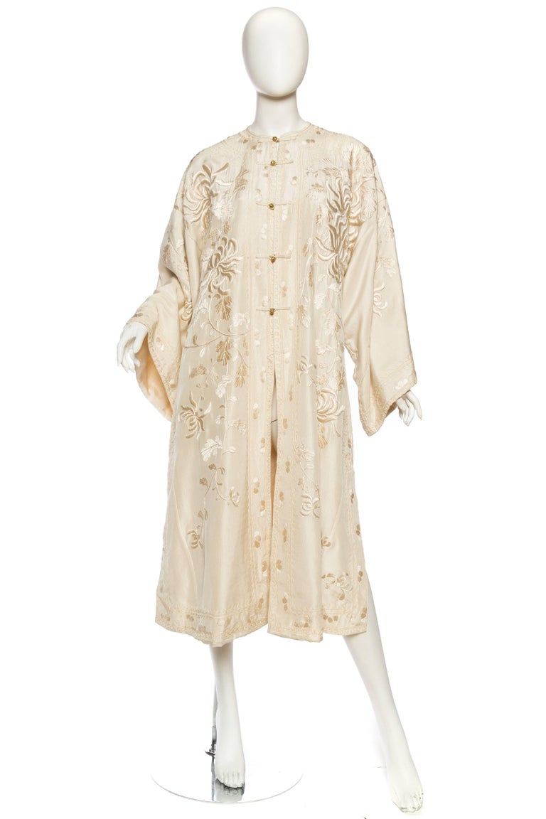 Beige Antique Edwardian Hand Embroidered Chinese Jacket For Sale