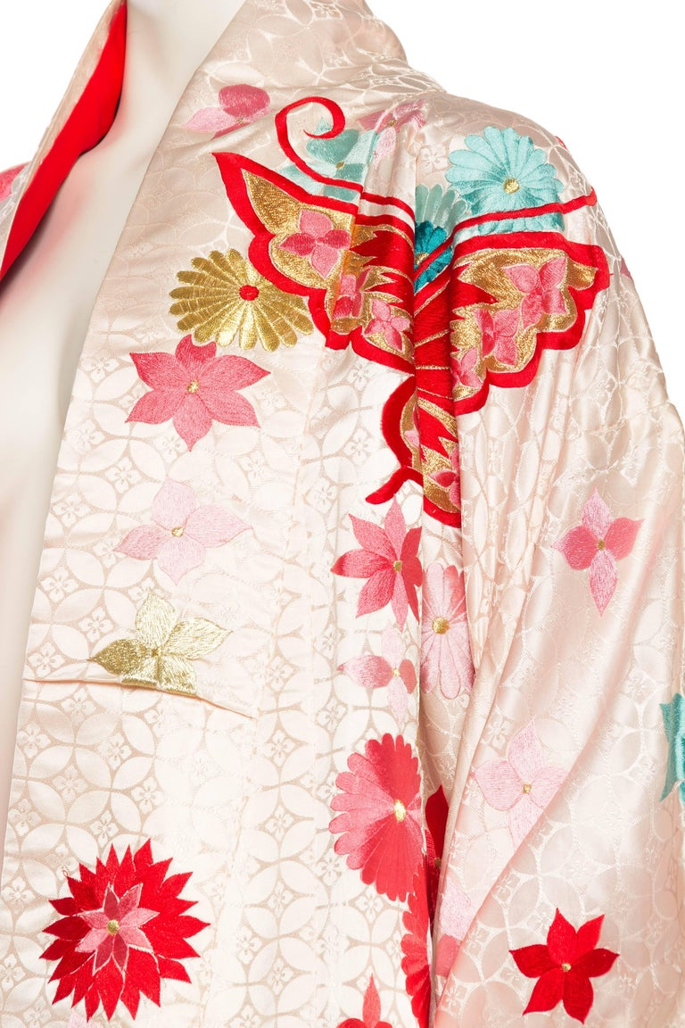Vintage Kimono Embroidered with Butterflies and Flowers 6