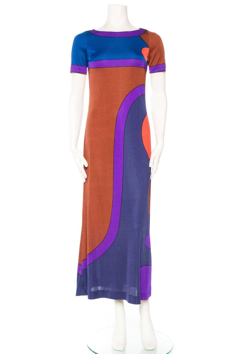 Purple 1960S LOUIS FÉRAUD Silk Jersey Large Scale Op-Art Mod Printed Dress
