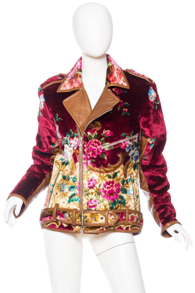 Mia Vesper Italian Tapestry and Leather Motorcycle Jacket 2