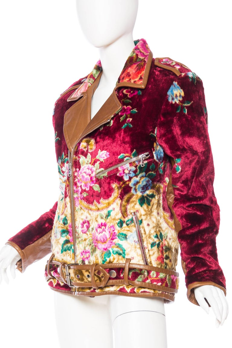 Mia Vesper Italian Tapestry and Leather Motorcycle Jacket 5