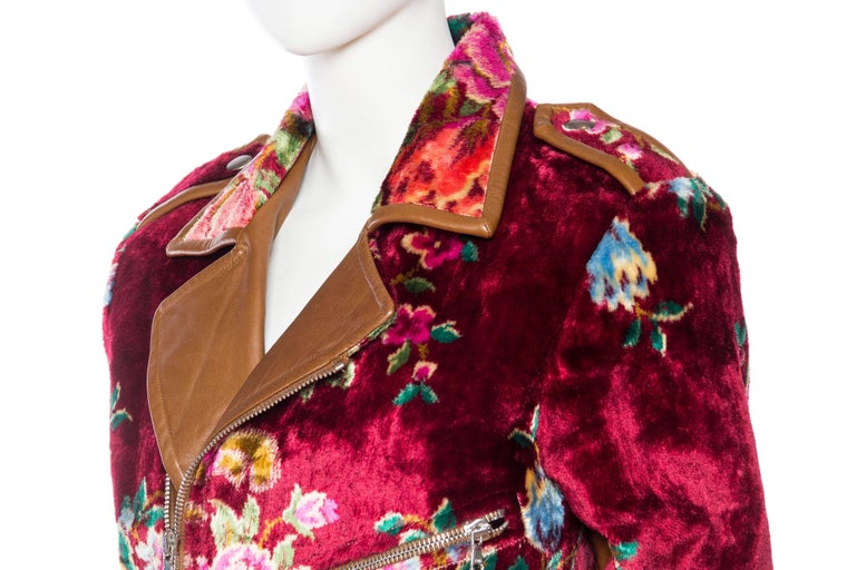 Mia Vesper Italian Tapestry and Leather Motorcycle Jacket 7