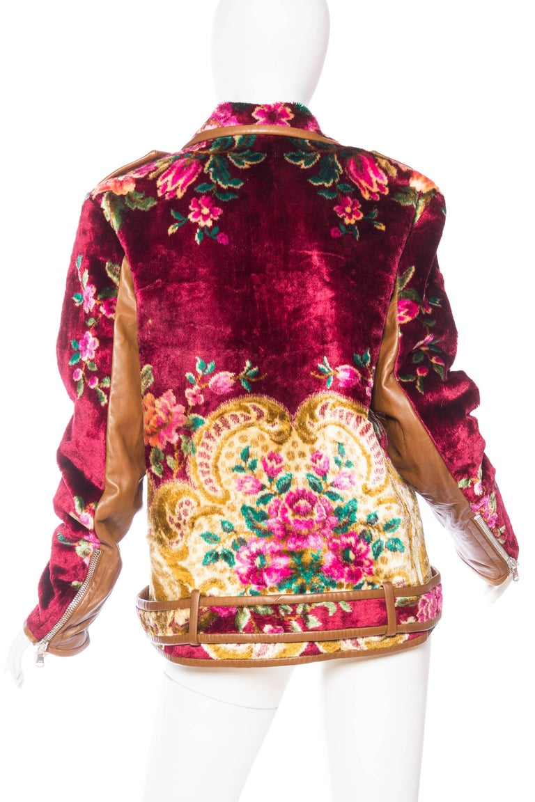 Mia Vesper Italian Tapestry and Leather Motorcycle Jacket 6