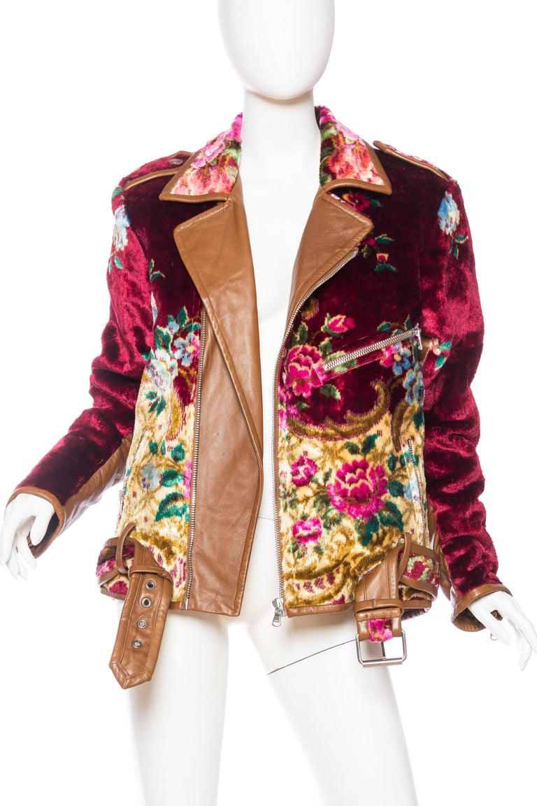 Mia Vesper Italian Tapestry and Leather Motorcycle Jacket 3
