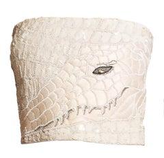Krizia Beaded Albino Crocodile Strapless Bustier