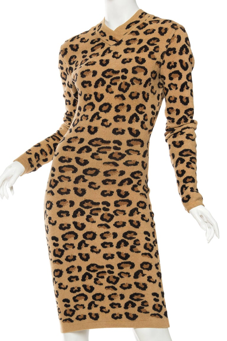 Azzedine Alaia Wool Blend Knit Iconic 1991 Leopard Collection Dress In Excellent Condition For Sale In New York, NY