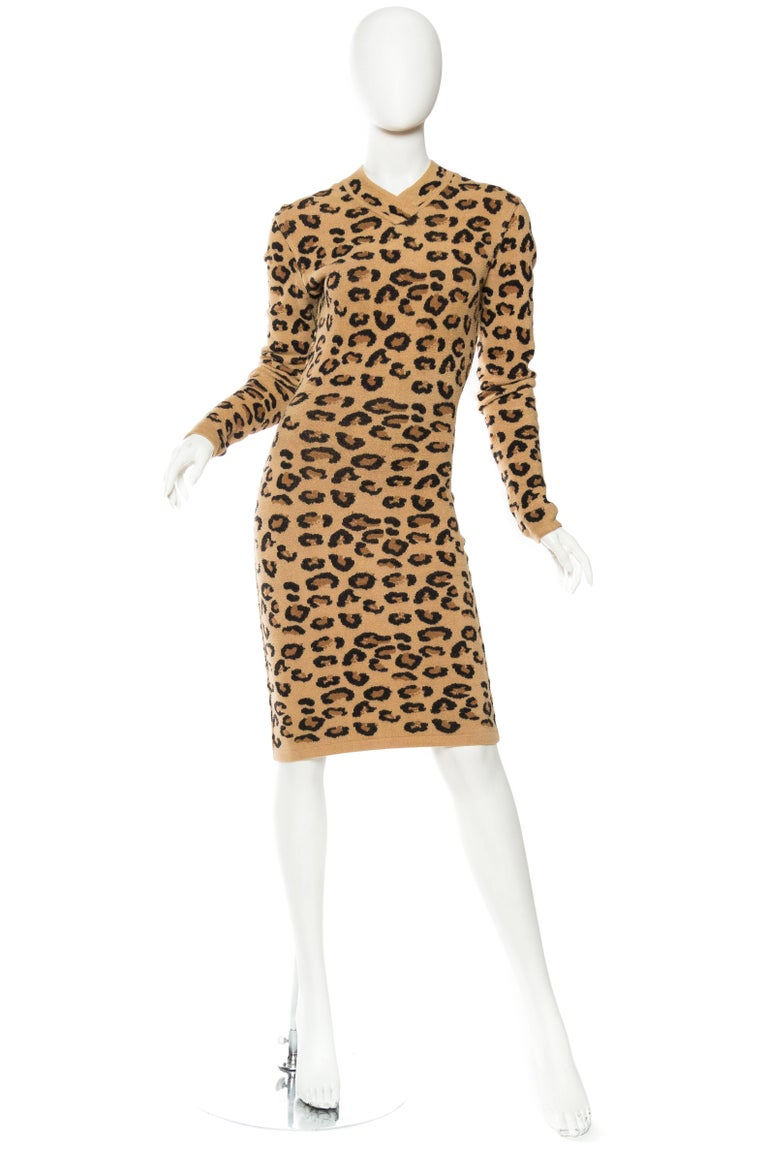Women's Azzedine Alaia Wool Blend Knit Iconic 1991 Leopard Collection Dress For Sale
