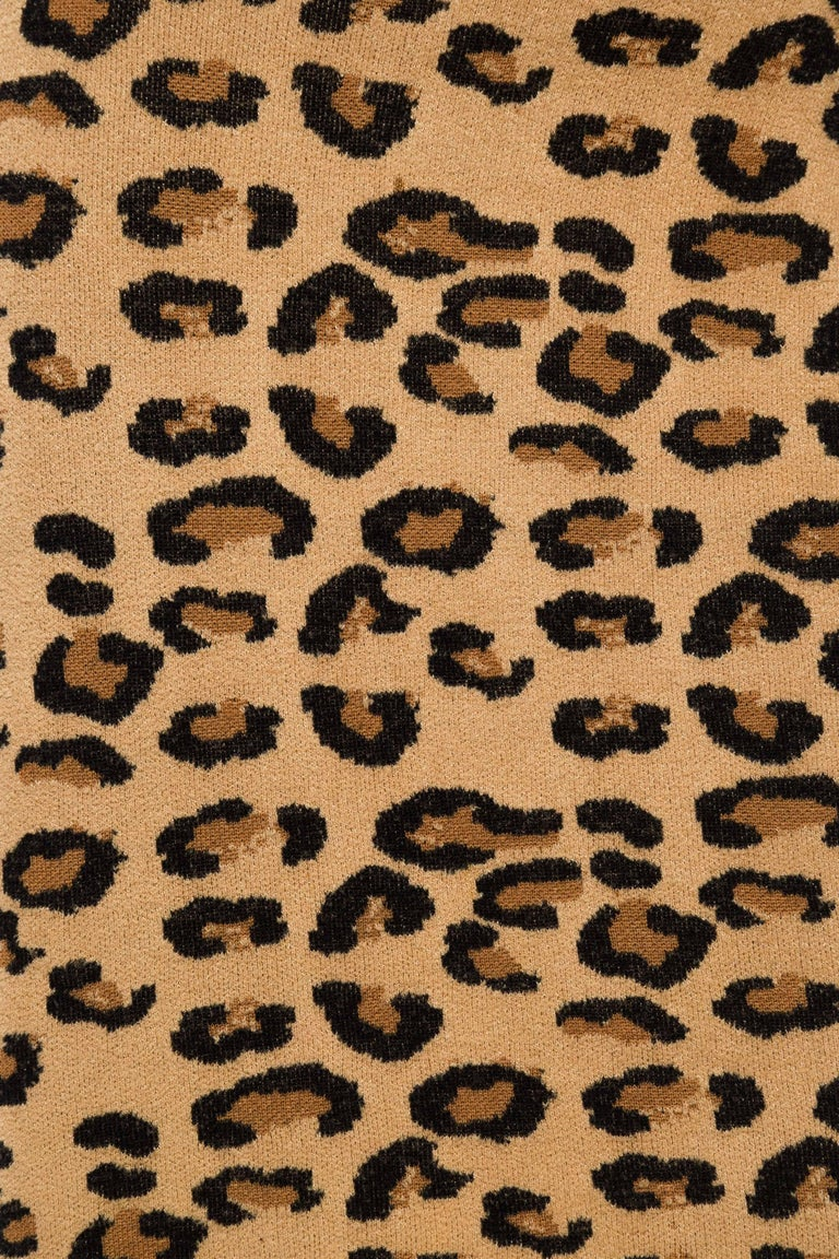 Azzedine Alaia Wool Blend Knit Iconic 1991 Leopard Collection Dress For Sale 5