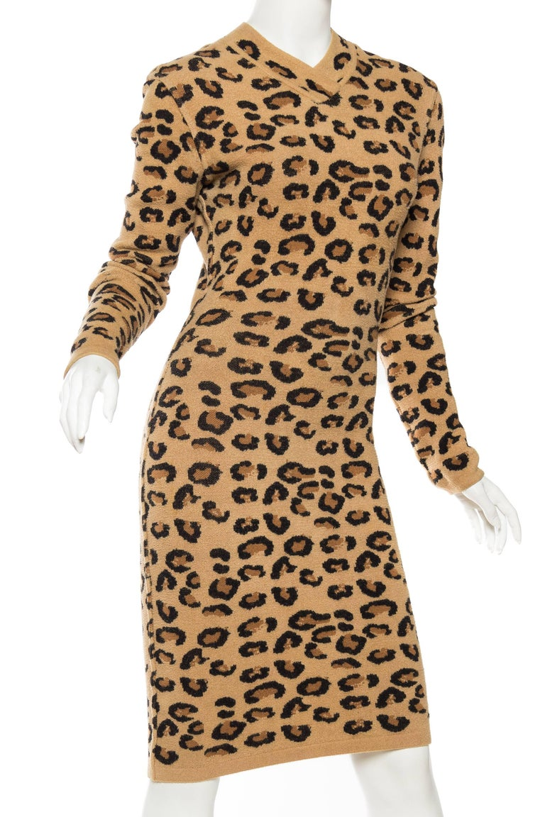 Azzedine Alaia Wool Blend Knit Iconic 1991 Leopard Collection Dress For Sale 1
