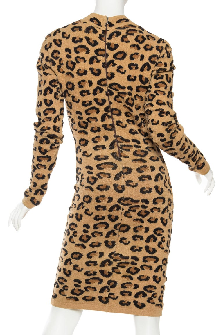 Azzedine Alaia Wool Blend Knit Iconic 1991 Leopard Collection Dress For Sale 2