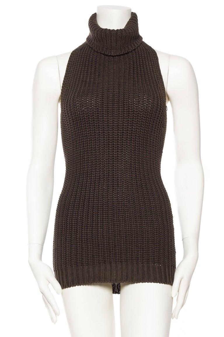 Black 1990S Cotton Backless Knit Cowl Neck Halter Top Mini Dress For Sale