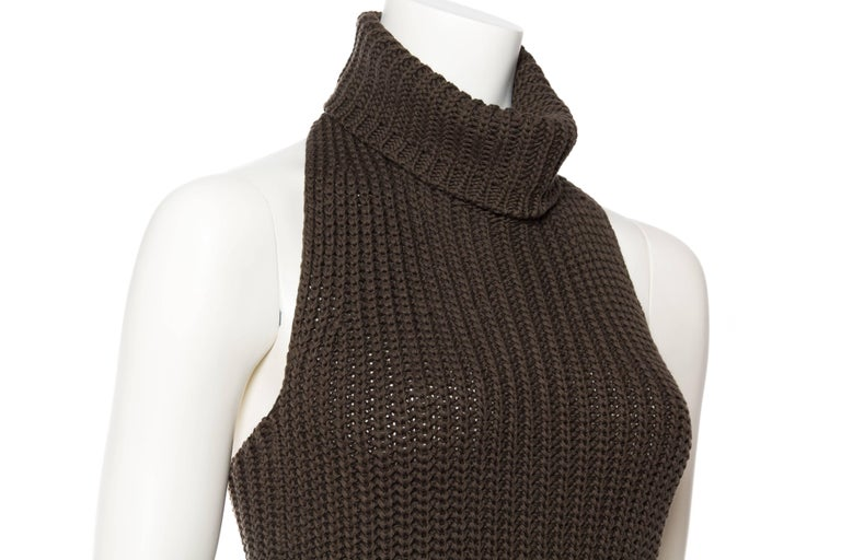 1990S Cotton Backless Knit Cowl Neck Halter Top Mini Dress For Sale 3
