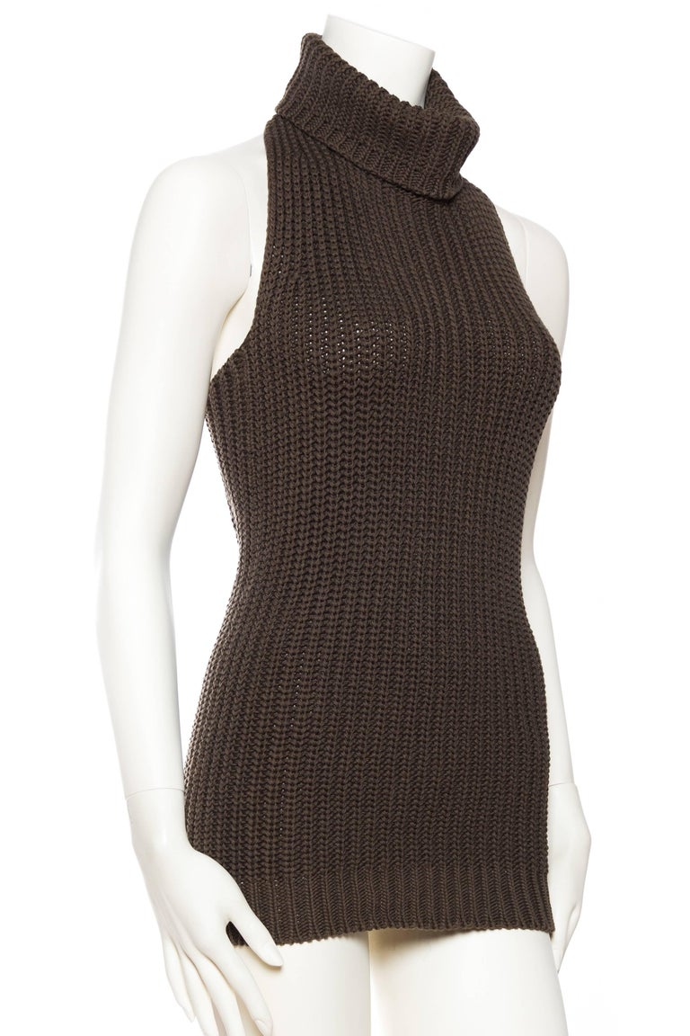 Women's 1990S Cotton Backless Knit Cowl Neck Halter Top Mini Dress For Sale