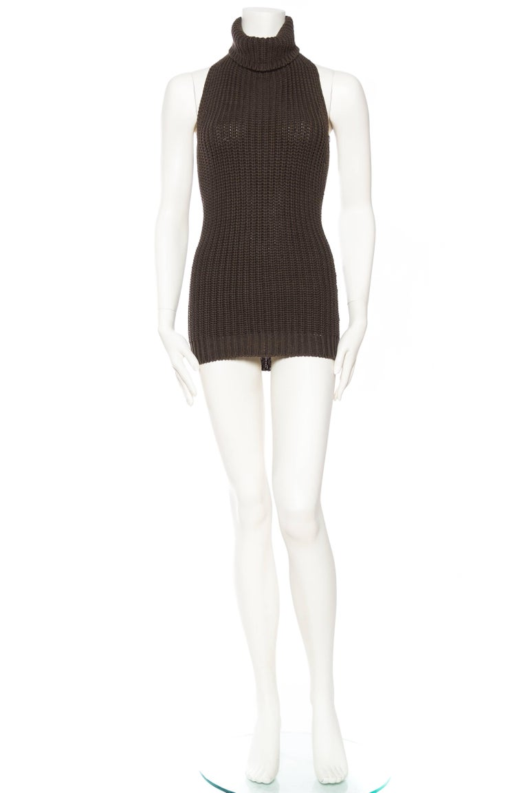 1990S Cotton Backless Knit Cowl Neck Halter Top Mini Dress In Excellent Condition For Sale In New York, NY