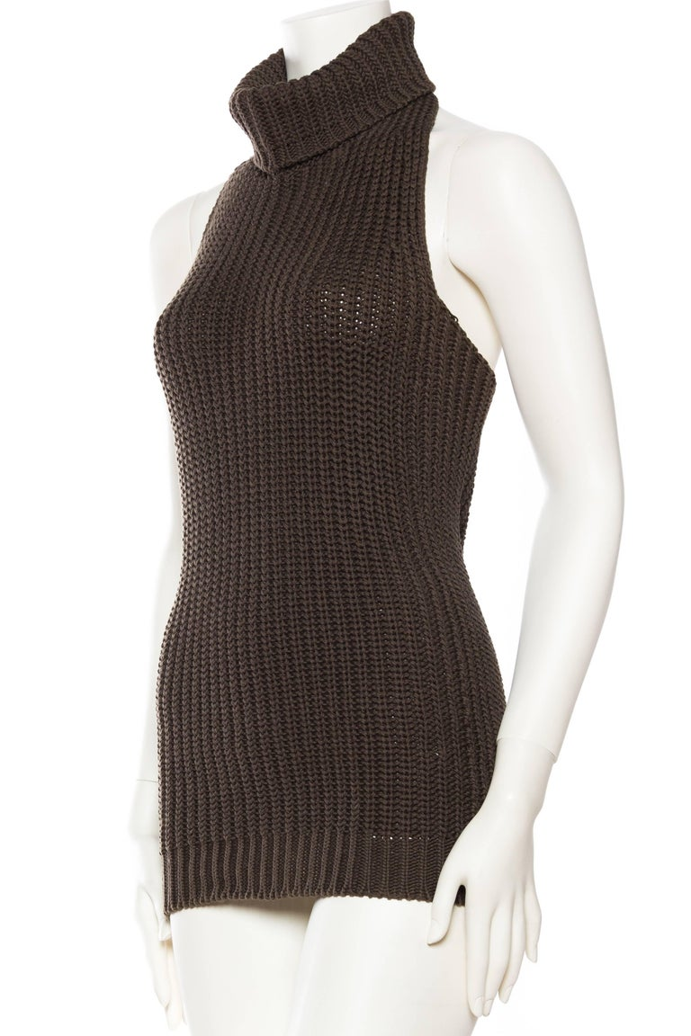 1990S Cotton Backless Knit Cowl Neck Halter Top Mini Dress For Sale 1