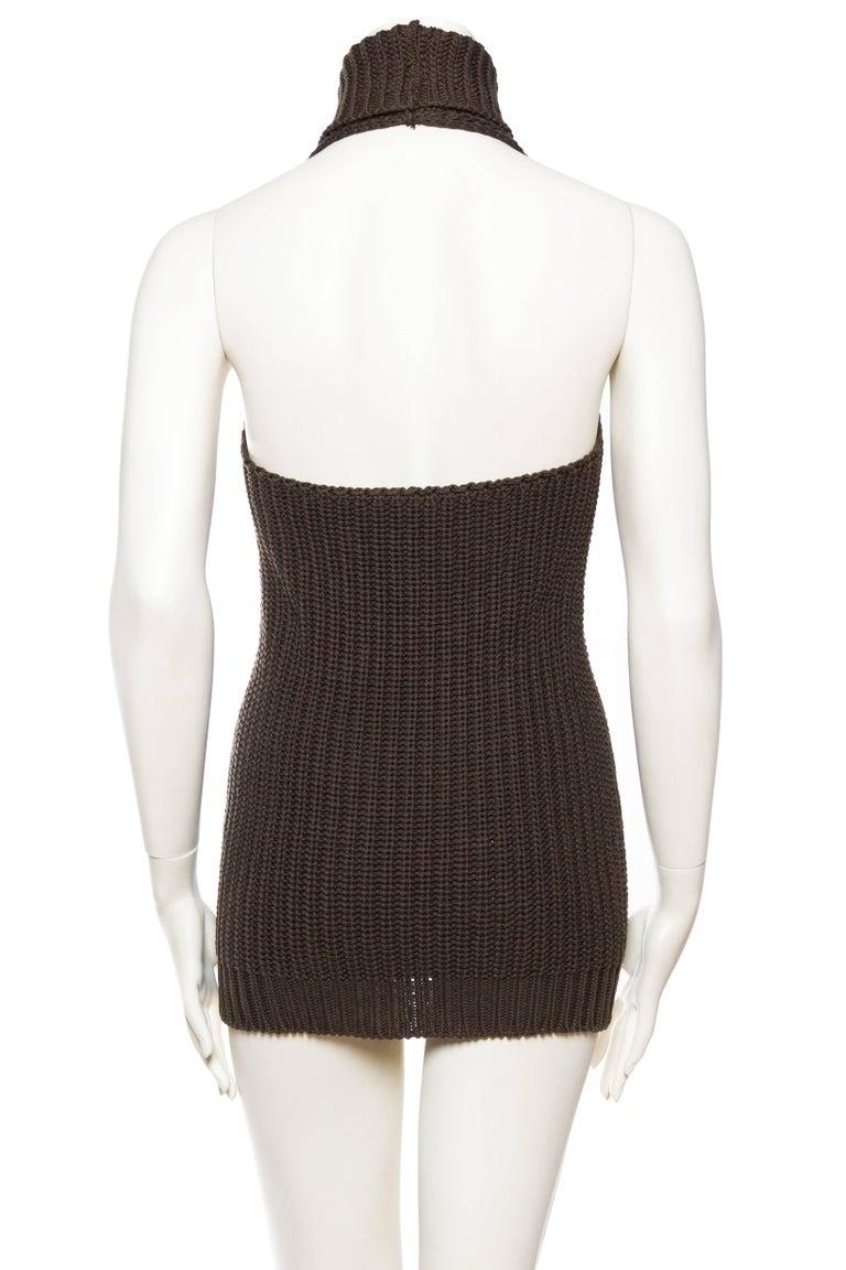 1990S Cotton Backless Knit Cowl Neck Halter Top Mini Dress For Sale 2