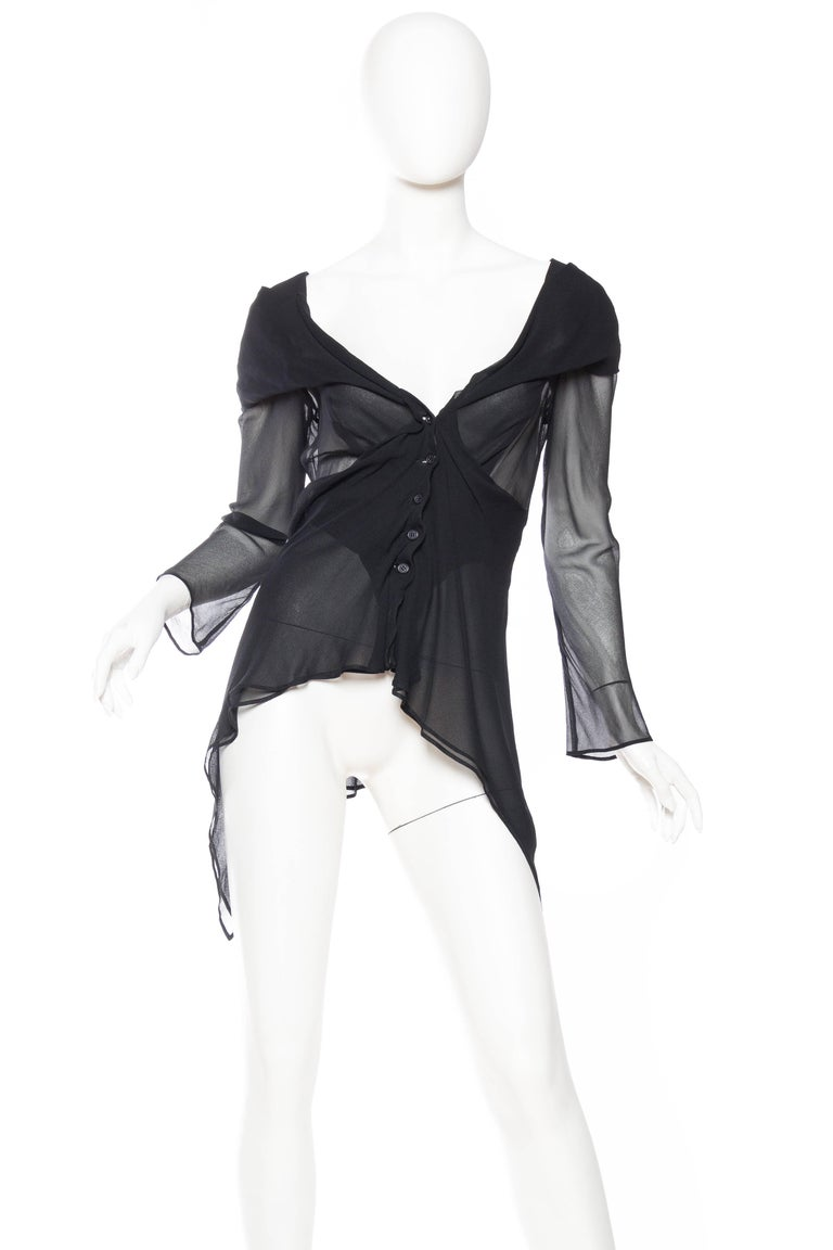 Sheer 1990s Issey Miyake Blouse In Excellent Condition For Sale In New York, NY