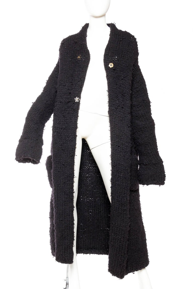 Chunky Deconstructed Knit Avant Guarde Belgian Sweater Coat In Excellent Condition For Sale In New York, NY