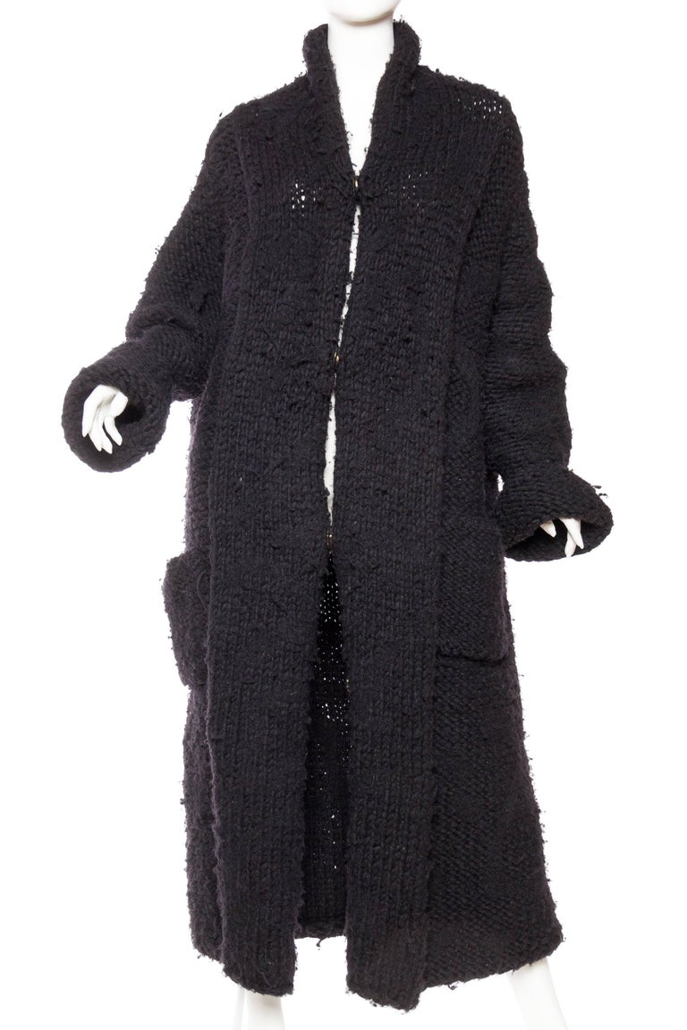 Black Chunky Deconstructed Knit Avant Guarde Belgian Sweater Coat For Sale