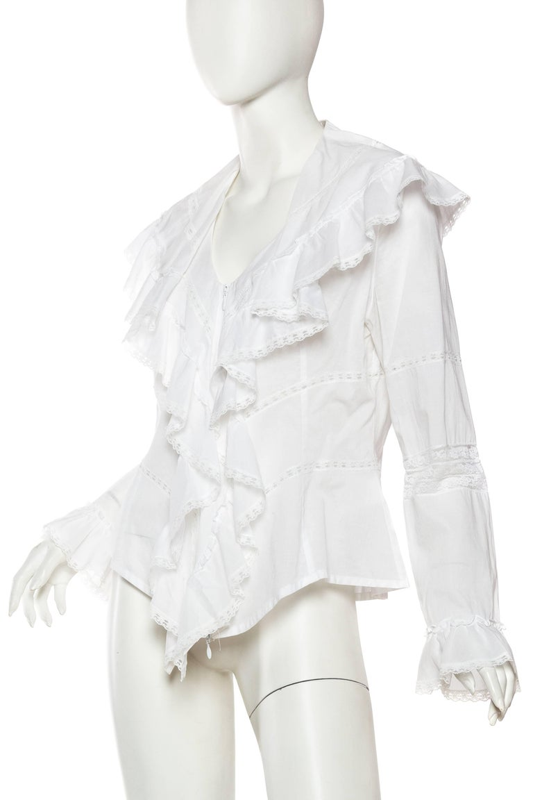 Anne Fontaine Victorian Ruffled Cotton Blouse In Excellent Condition For Sale In New York, NY