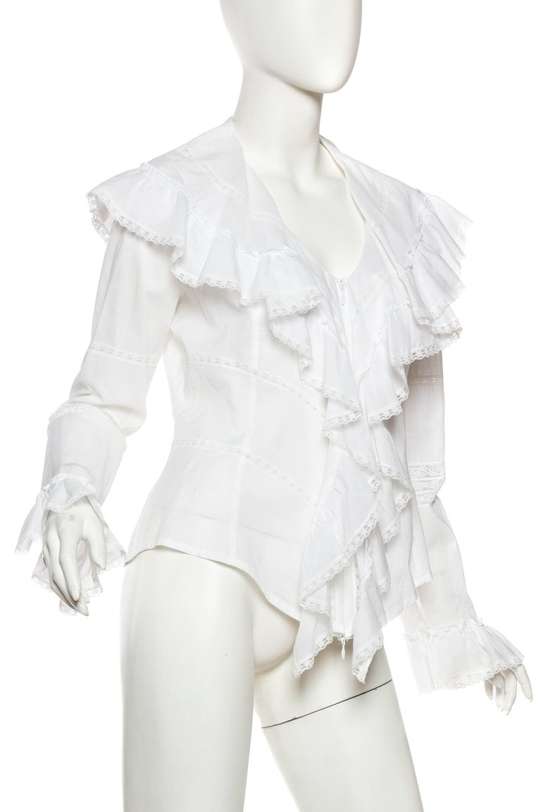 Gray Anne Fontaine Victorian Ruffled Cotton Blouse For Sale
