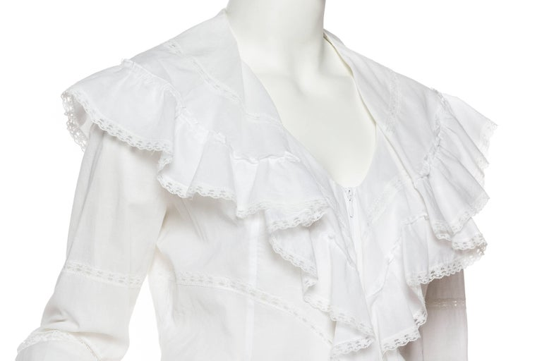 Anne Fontaine Victorian Ruffled Cotton Blouse For Sale 1