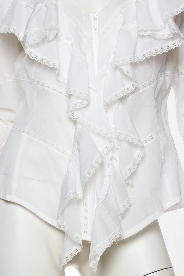 Anne Fontaine Victorian Ruffled Cotton Blouse For Sale 2