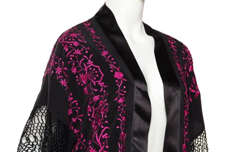 Hand Embroidered Piano Shawl Kimono with Fringe For Sale 2