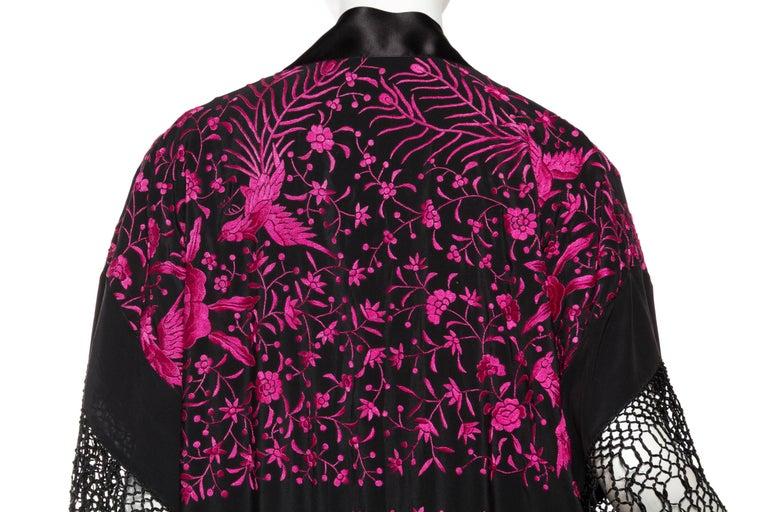Hand Embroidered Piano Shawl Kimono with Fringe For Sale 3