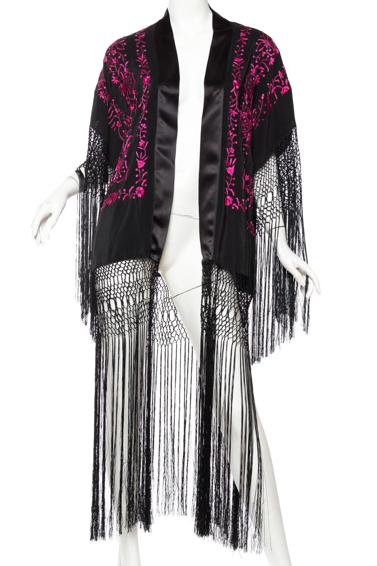 Black Hand Embroidered Piano Shawl Kimono with Fringe For Sale