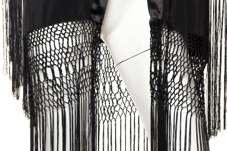 Hand Embroidered Piano Shawl Kimono with Fringe For Sale 4