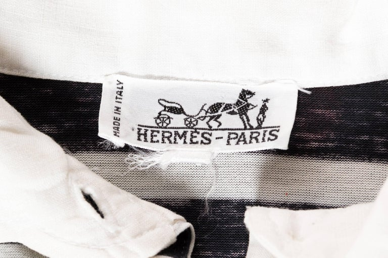 Hermés Baroque and Stripe Printed Cotton Polo Shirt For Sale 4