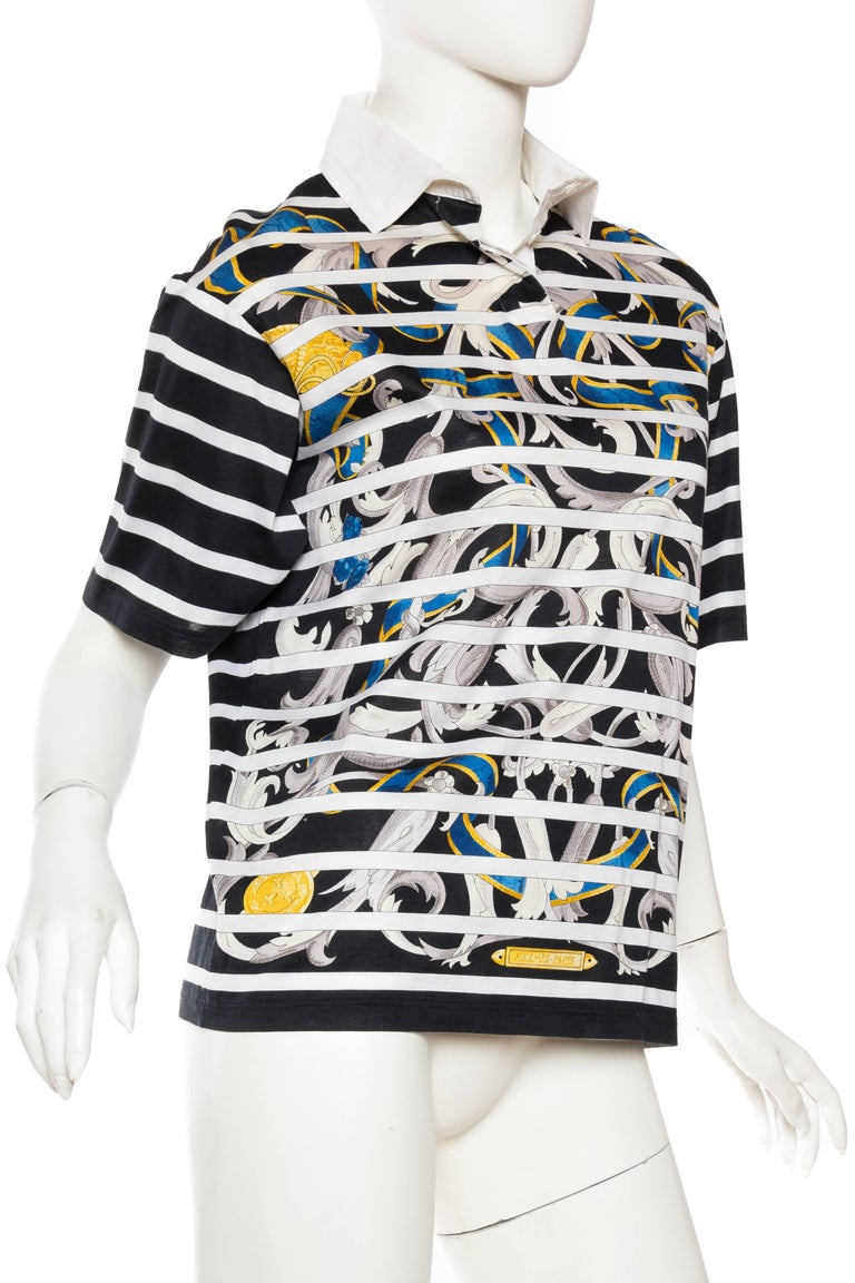 Gray Hermés Baroque and Stripe Printed Cotton Polo Shirt For Sale