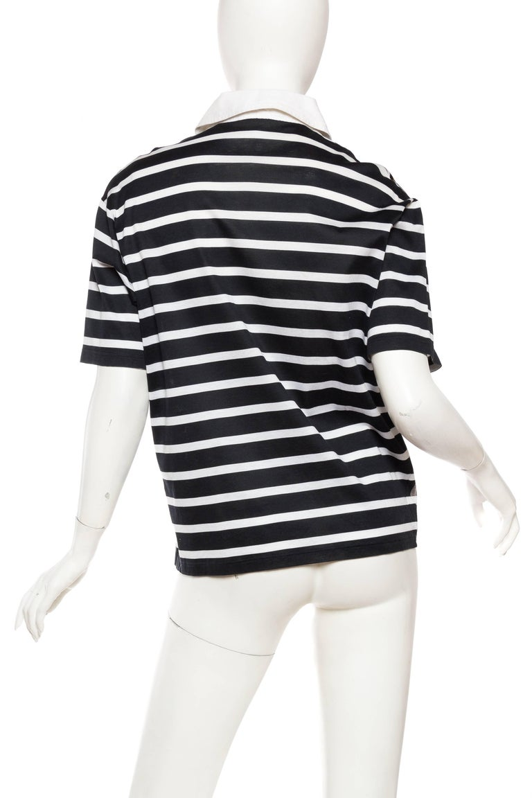 Women's Hermés Baroque and Stripe Printed Cotton Polo Shirt For Sale