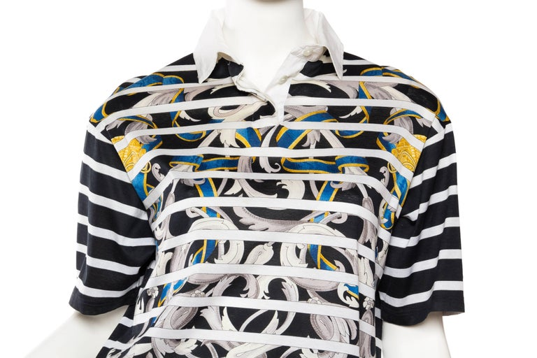 Hermés Baroque and Stripe Printed Cotton Polo Shirt For Sale 1