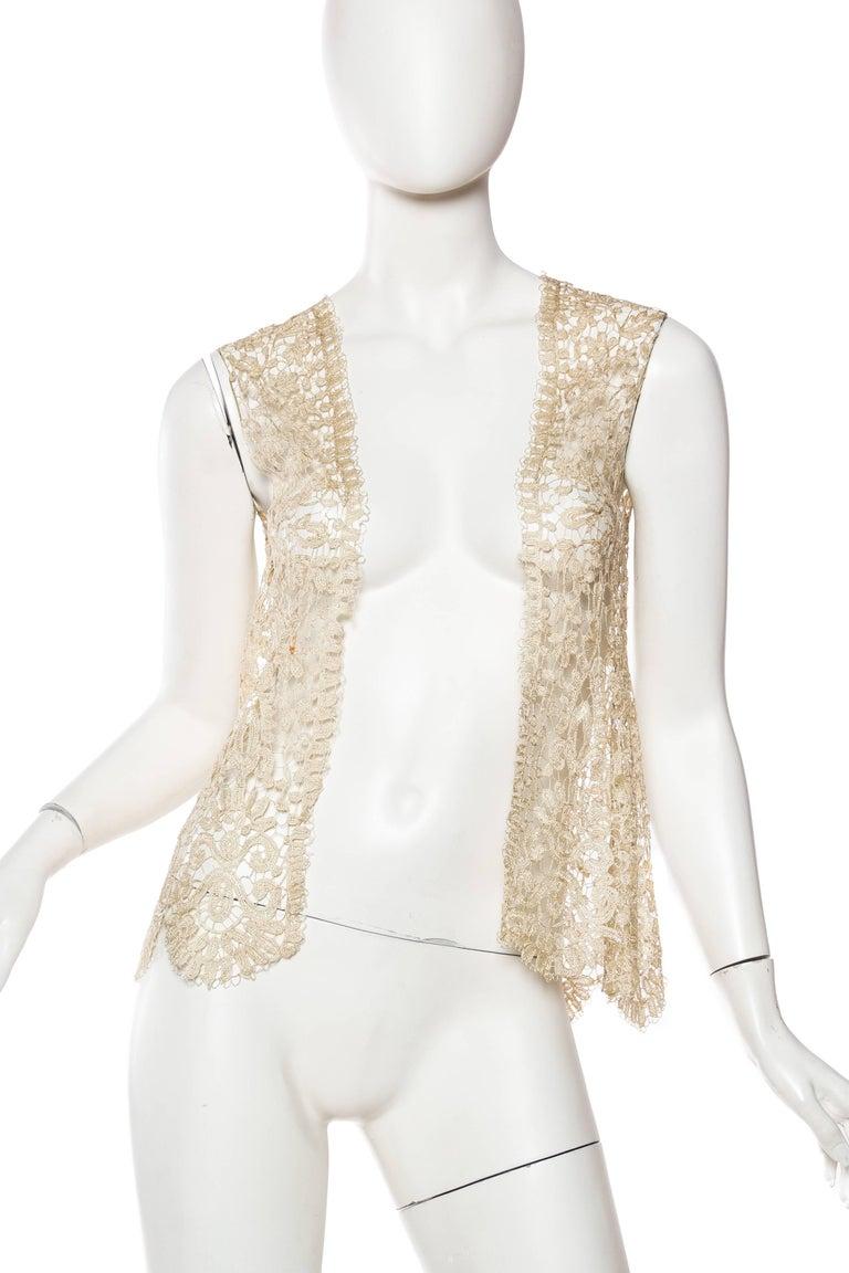 1920s Art Deco Handmade Lace Vest 2