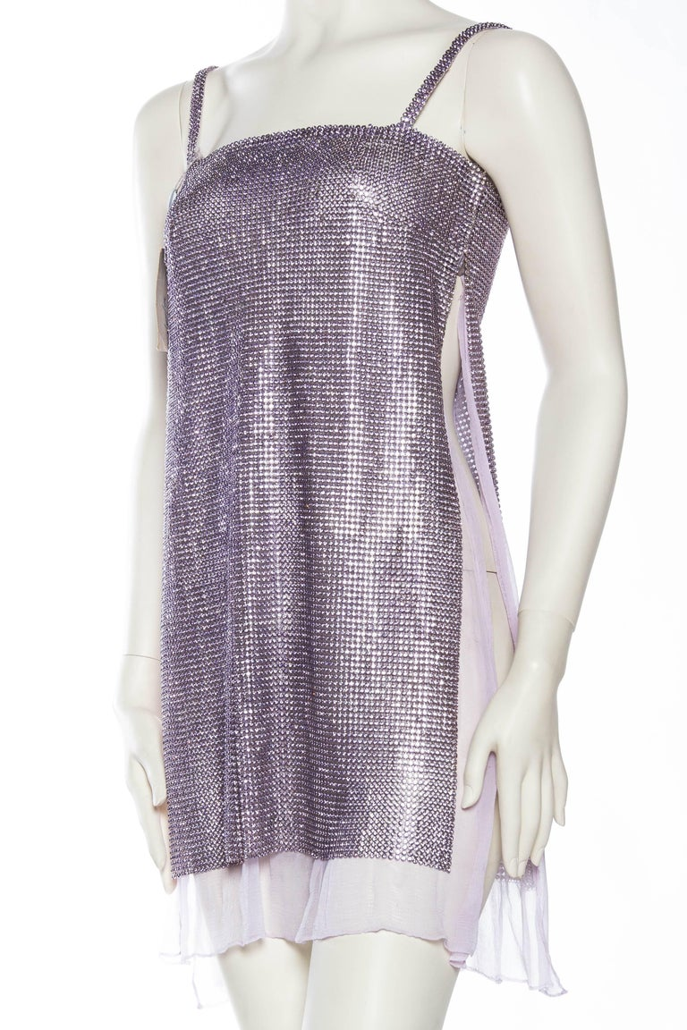 1990s Gianni Versace Crystal Metal Mesh Dress For Sale At