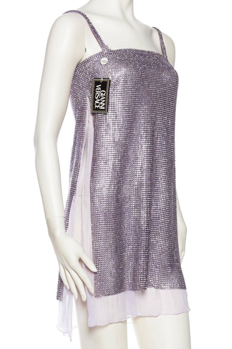 Gray 1990s Gianni Versace Crystal Metal Mesh Dress For Sale