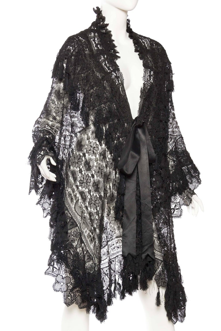 Black Victorian Handmade Cluny Bobbin Lace Dolman Cape with Tasseled Fringe For Sale