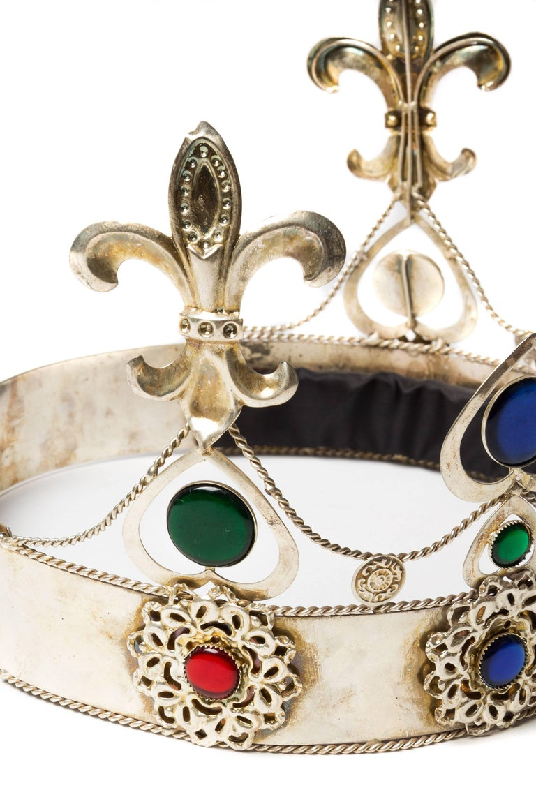 Beige Vintage Silver Crown For Sale