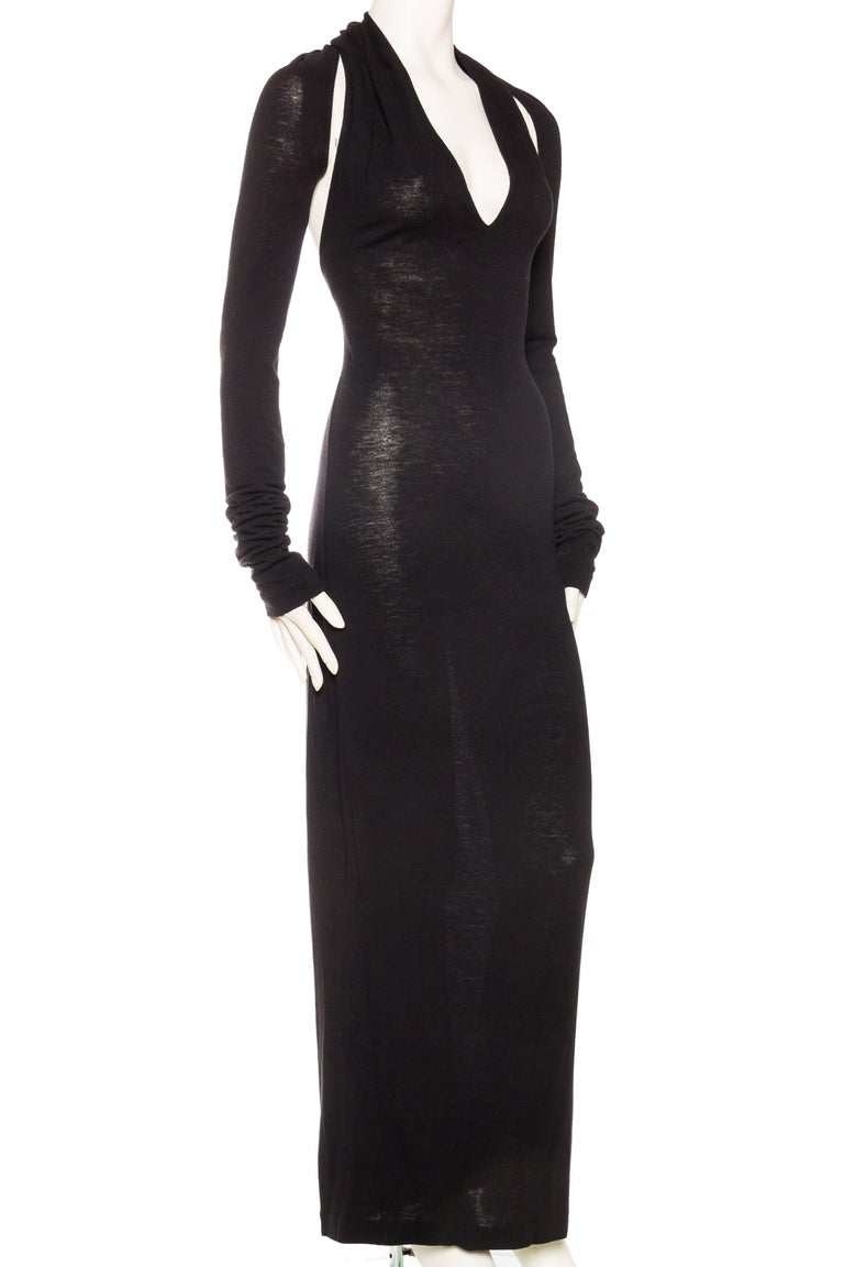 Backless Jersey Callaghan Dress with Sleeves For Sale at 1stdibs