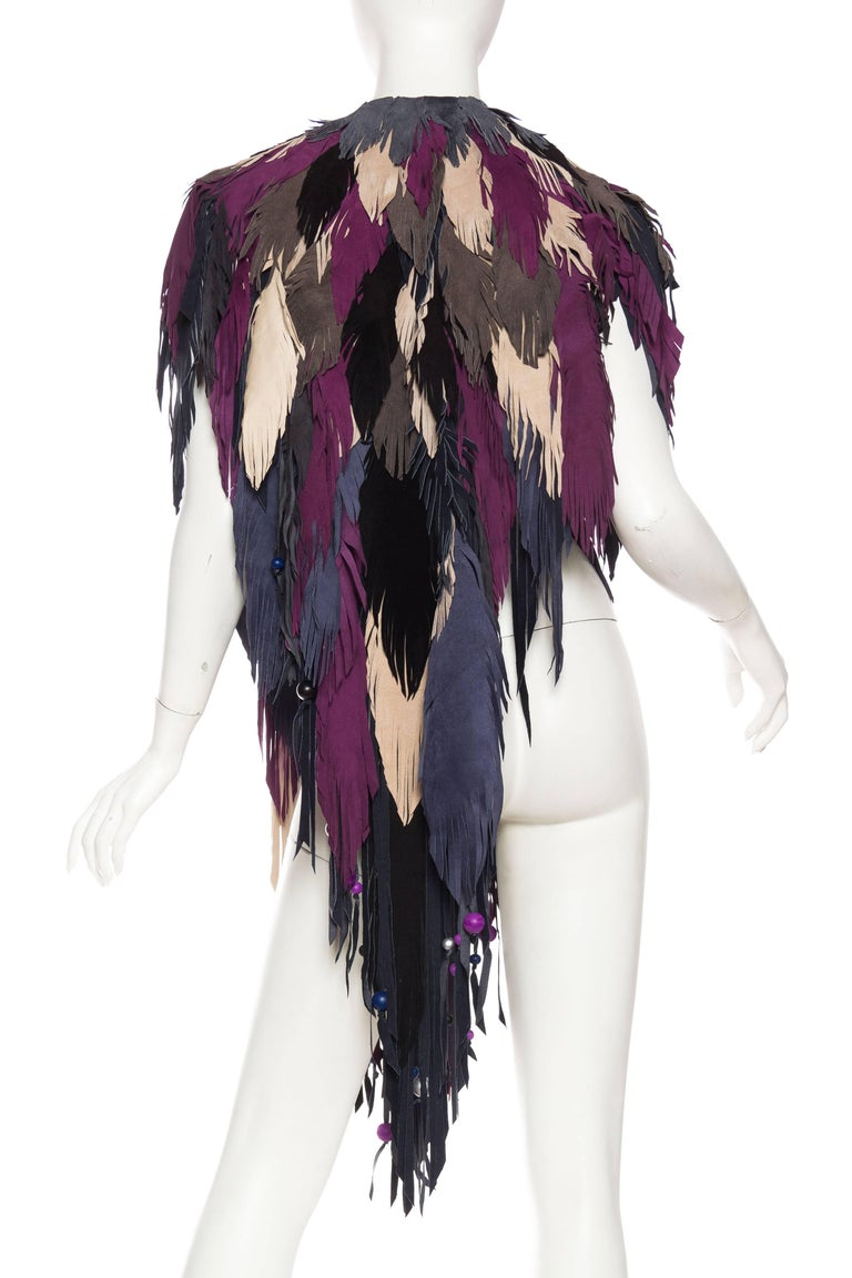 1970s Style Suede Fringe Shawl For Sale 1