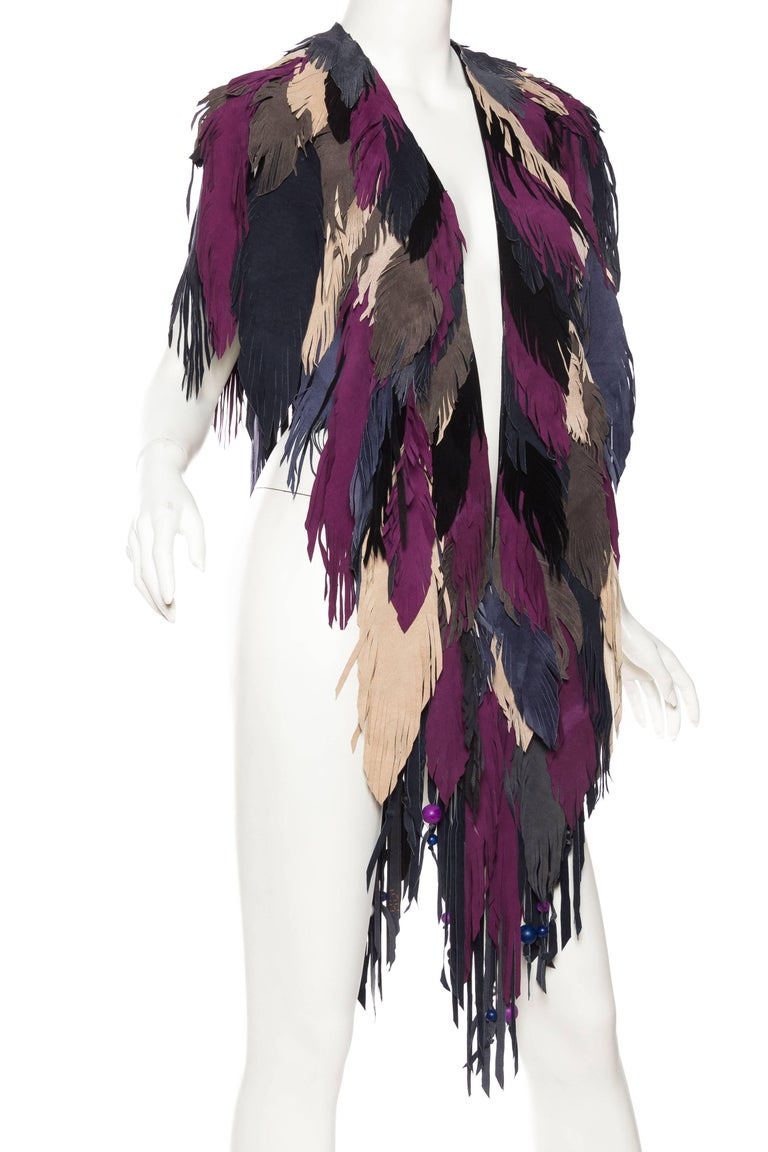 1970s Style Suede Fringe Shawl In New never worn Condition For Sale In New York, NY
