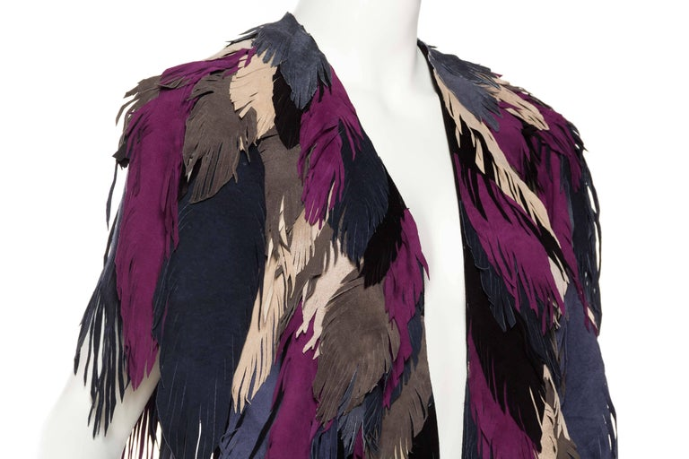1970s Style Suede Fringe Shawl For Sale 2